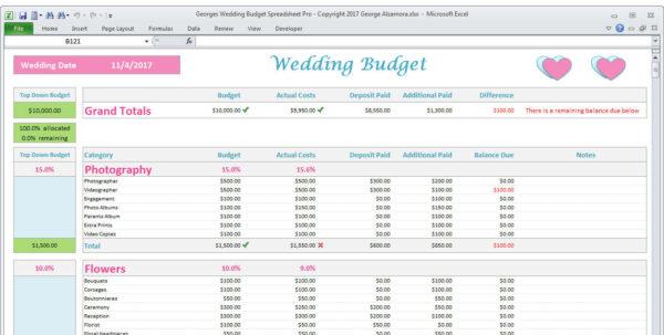 Wedding Expense Excel Spreadsheet Throughout Wedding Planner Budget Template Excel Spreadsheet Wedding  Etsy