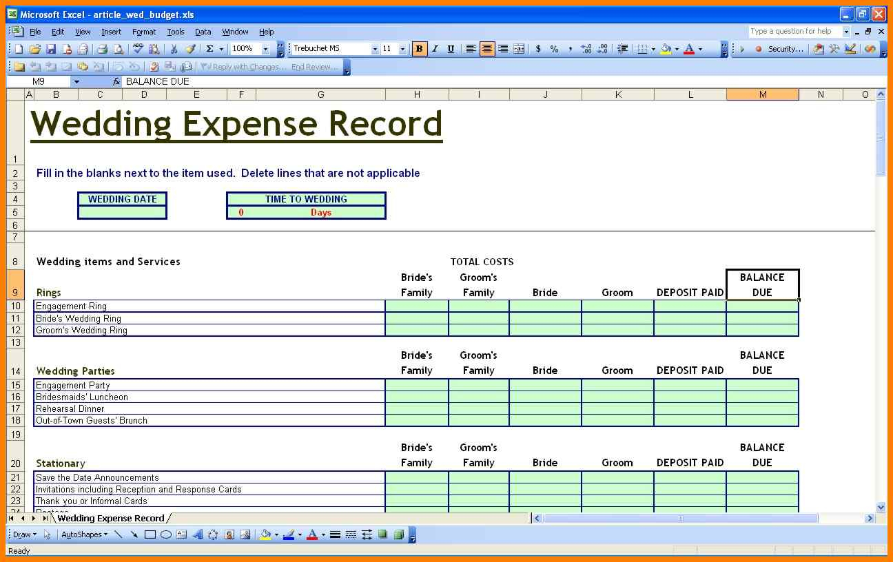Wedding Expense Excel Spreadsheet Within 5+ Excel Spreadsheet Wedding Budget Spreadsheet  Gospel Connoisseur