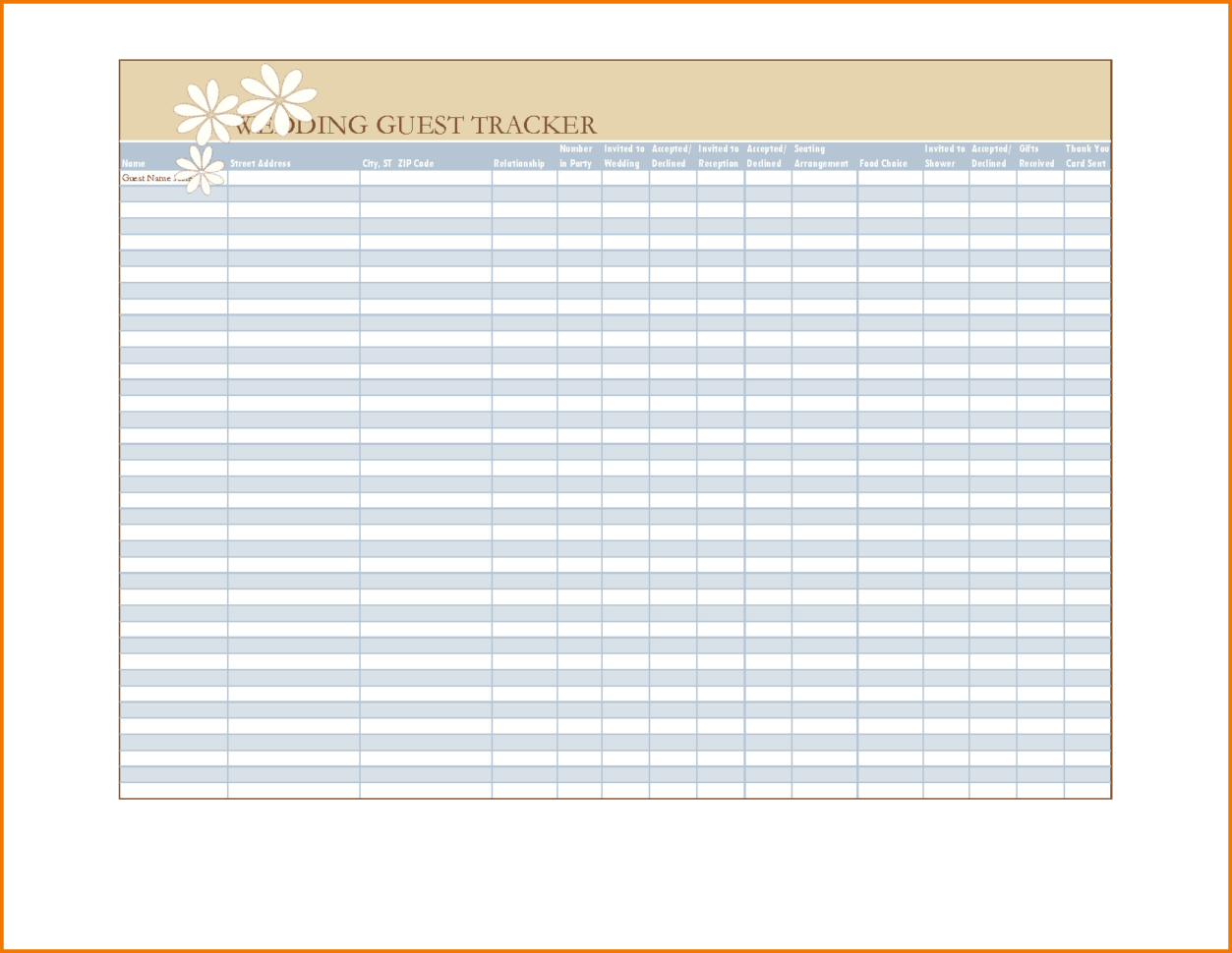 Wedding Guest Excel Spreadsheet Throughout Wedding Guest List Template Excel  Spreadsheet Collections