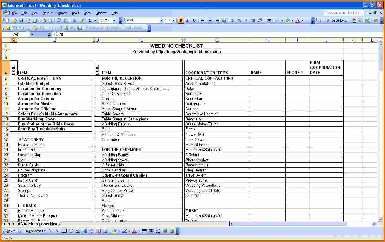 Wedding Guest Excel Spreadsheet With Regard To Wedding Planner Excel Sheet  Rent.interpretomics.co