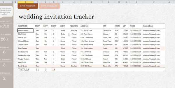 Wedding Guest List Excel Spreadsheet Pertaining To Sampleding Guest List Spreadsheet Example Excel As Software How To