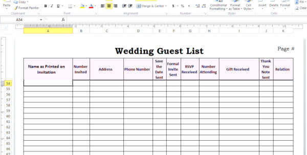 Wedding Guest List Spreadsheet Inside Best Wedding Guest List Spreadsheet Download Filename  Discover