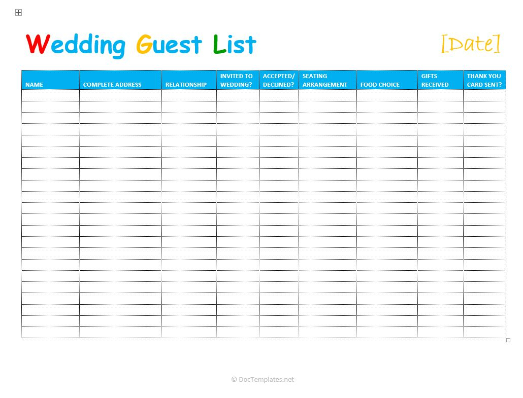 Wedding Guest List Spreadsheet Intended For 7 Free Wedding Guest List Templates And Managers
