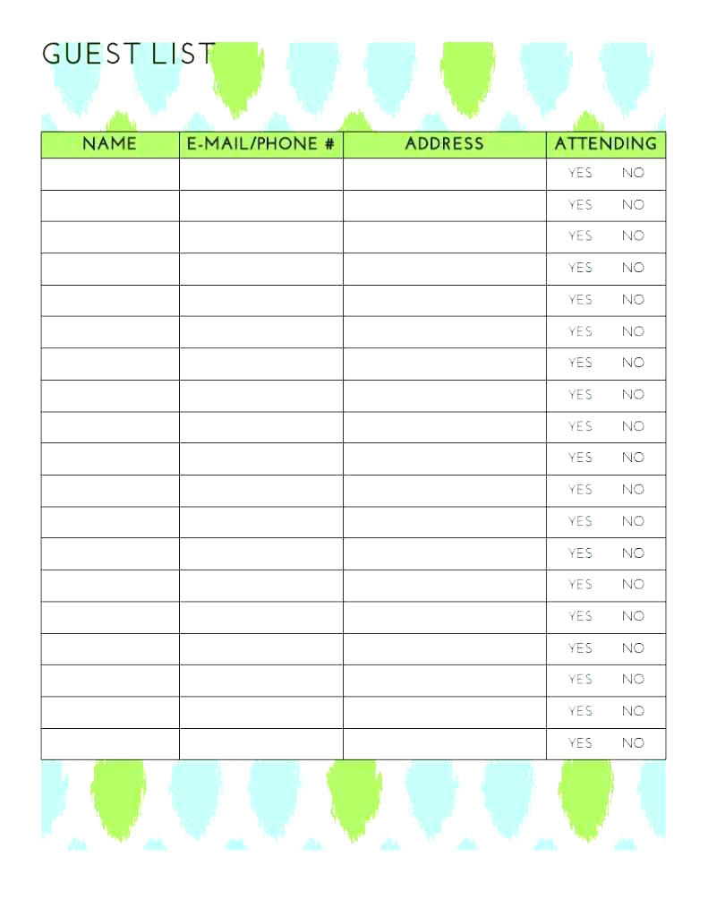 Wedding Guest List Spreadsheet With Best Wedding Guest List Spreadsheet Download 13  Discover China Townsf