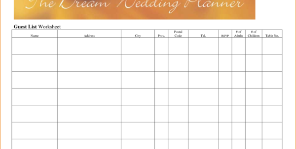 Wedding Guest List Spreadsheet Within Wedding Guest List Worksheet  Kasare.annafora.co