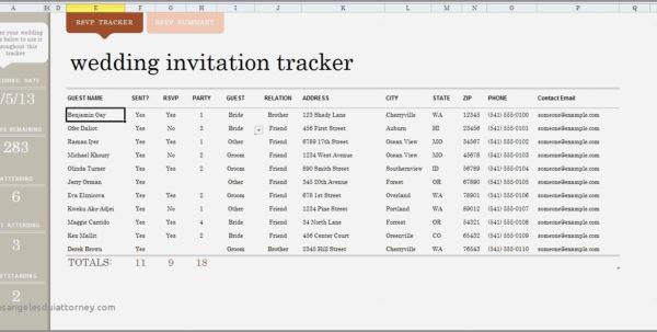 Wedding Invite List Spreadsheet Regarding Wedding Guest List Spreadsheet Template  Parttime Jobs