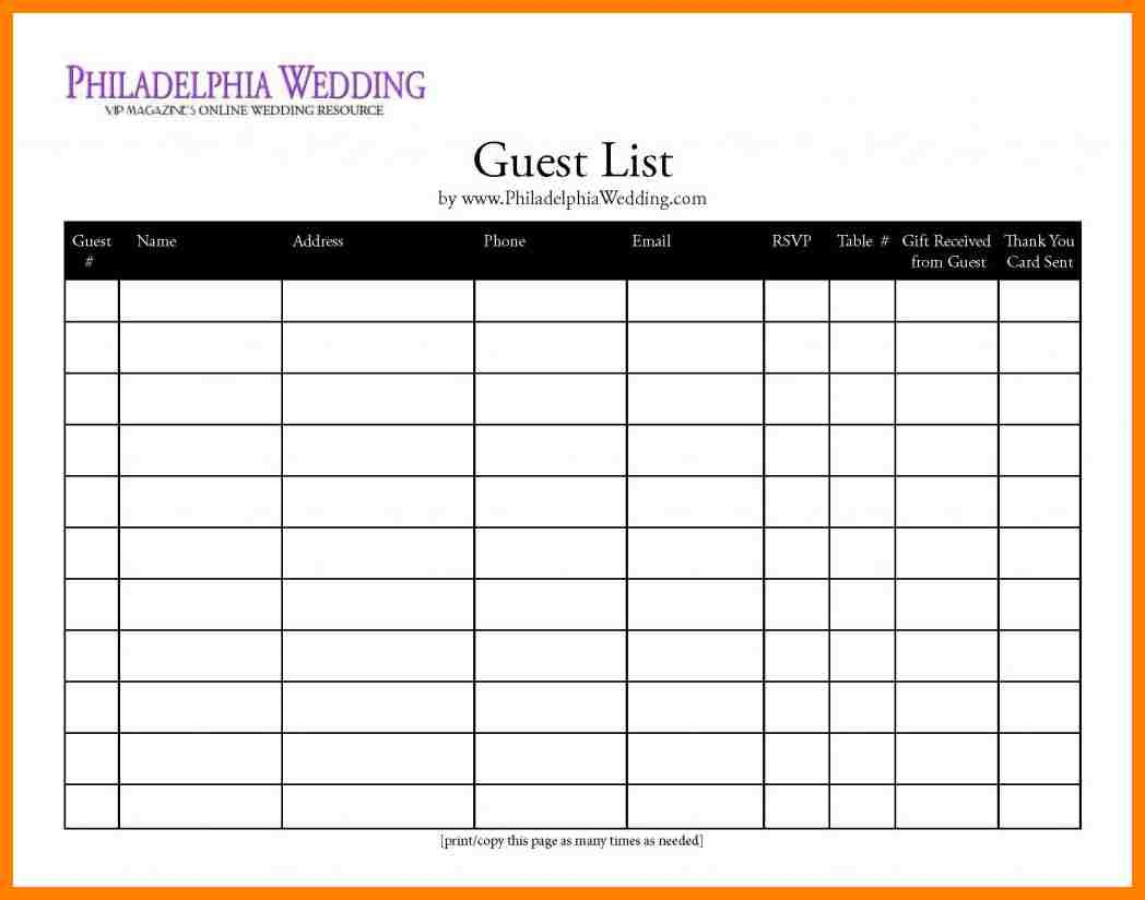 Wedding Invite List Spreadsheet With Regard To 7 Free Printable Wedding Guest List Spreadsheet #63760624457 – Free