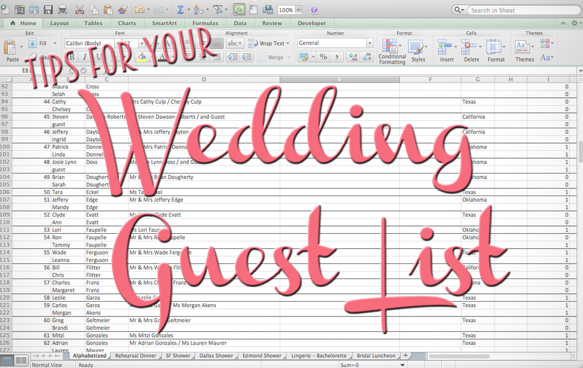 Wedding Invite List Spreadsheet With Regard To Tips For Making Your Wedding Guest List  The Yes Girls
