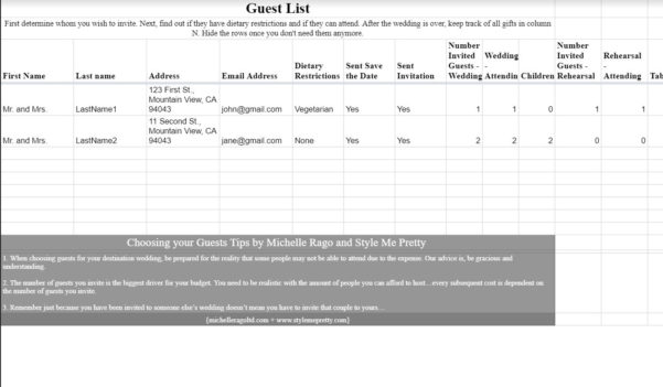 Wedding Invite Spreadsheet Throughout 7 Free Wedding Guest List Templates And Managers