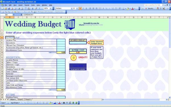 Wedding Planner Excel Spreadsheet For Destination Wedding Budgetadsheet Excel Checklist Sheet  Askoverflow