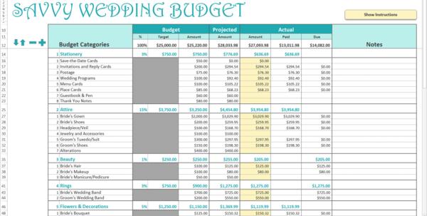 Wedding Planner Excel Spreadsheet In Wedding Excel Budget  Kasare.annafora.co