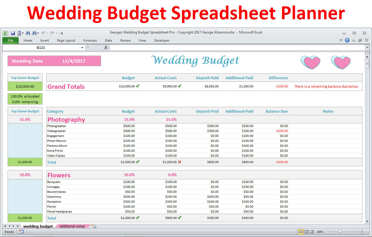 Wedding Planner Excel Spreadsheet Intended For Wedding Planner Budget Template Excel Spreadsheet Wedding  Etsy