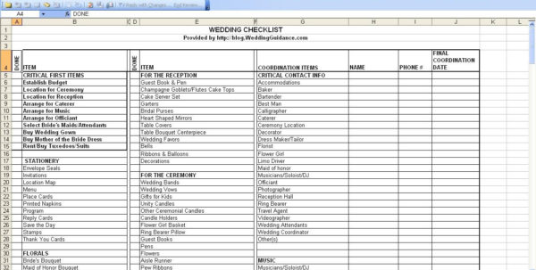 Wedding Planning Checklist Excel Spreadsheet Intended For Wedding Planning Checklist For Excel – The Newninthprecinct