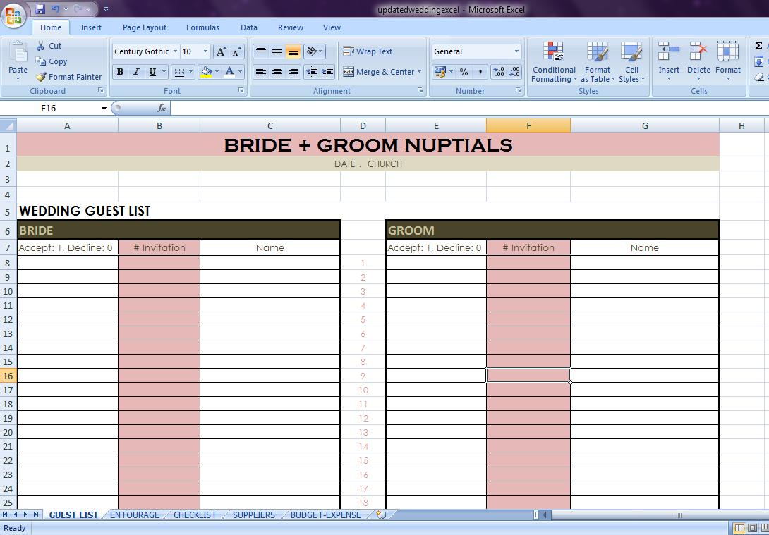 Wedding Planning Checklist Excel Spreadsheet With Regard To Wedding Checklist Excel