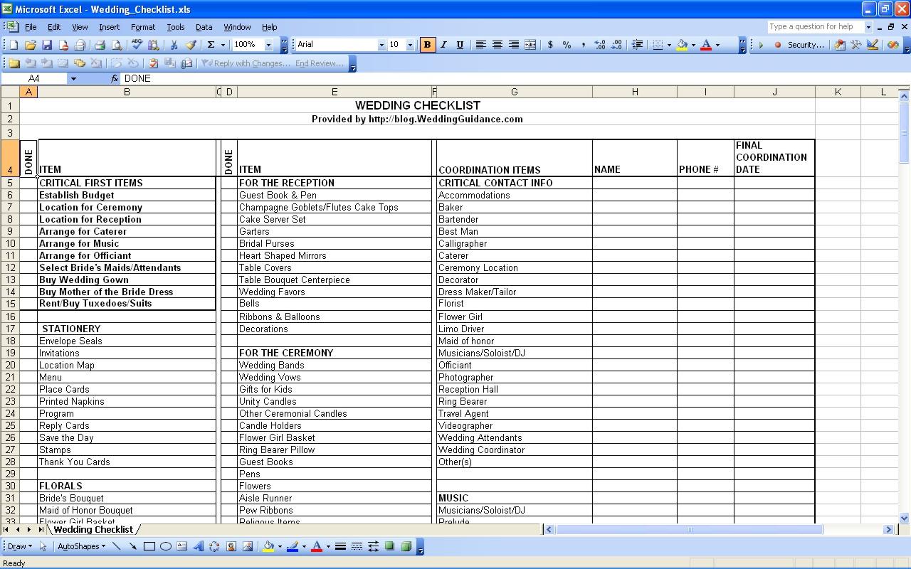 Wedding Planning Guest List Spreadsheet With Wedding Checklist Template Pdf Wedding Spreadsheet Template Wedding