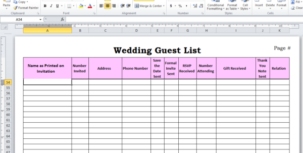 Wedding Planning Spreadsheet Uk Throughout Wedding Planning Guest List Template How To Make Your Excel