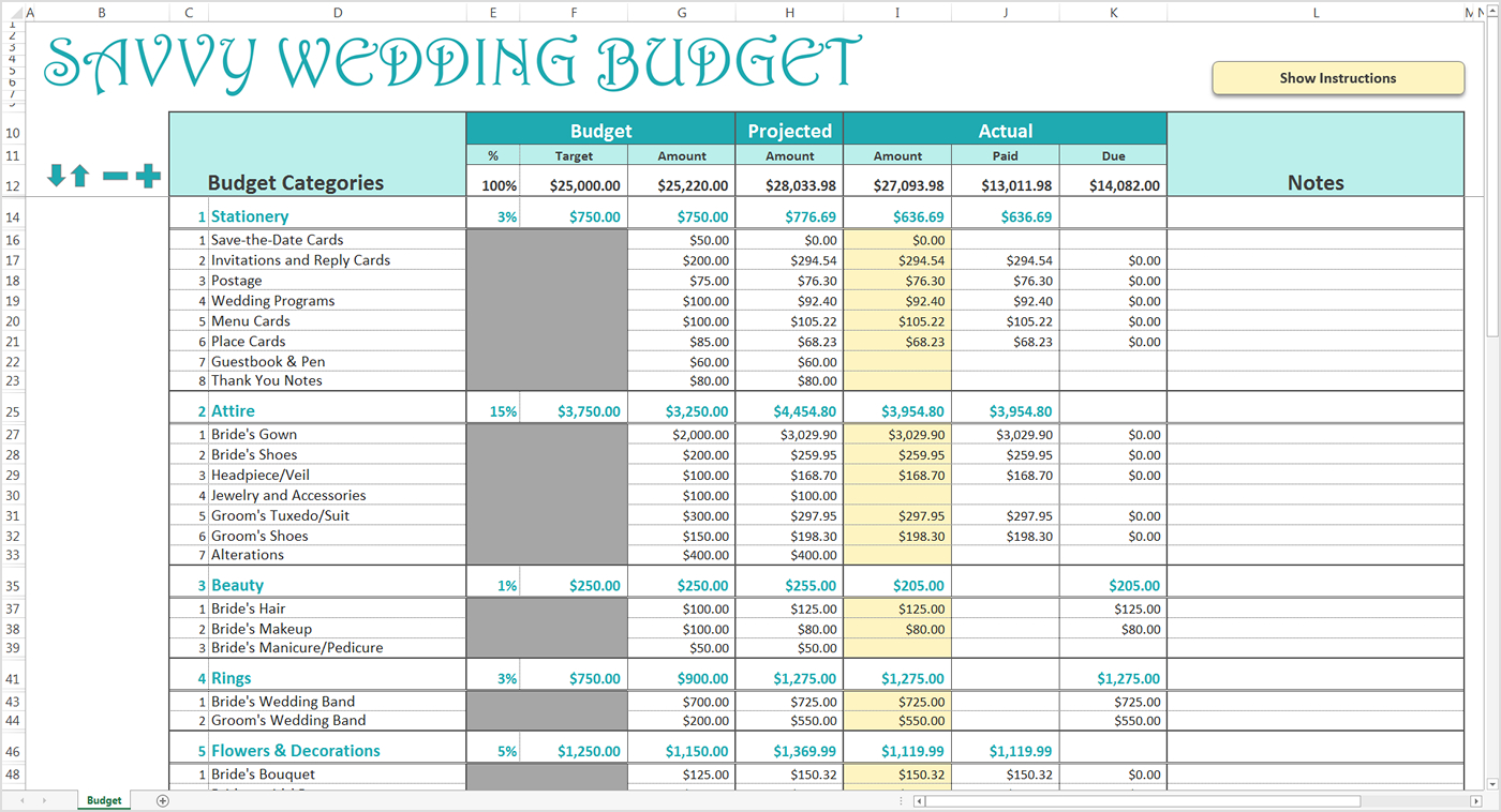 Wedding Spending Spreadsheet Regarding Smart Wedding Budget  Excel Template  Savvy Spreadsheets
