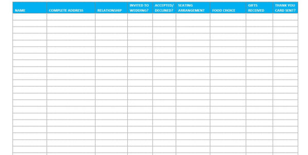 Wedding Spreadsheet Guest List Templates In 7 Free Wedding Guest List Templates And Managers