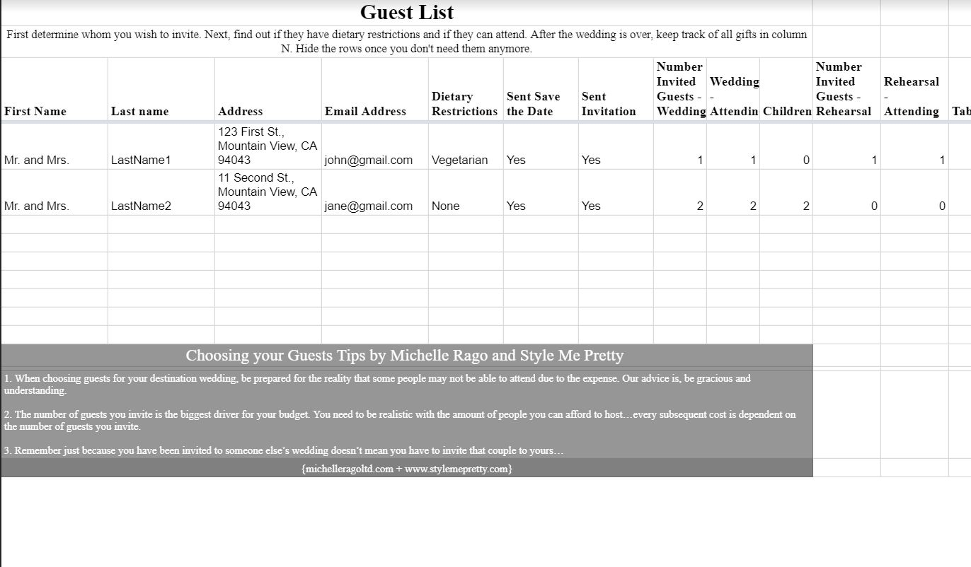 Wedding Spreadsheet Guest List Templates Pertaining To 7 Free Wedding Guest List Templates And Managers