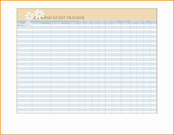 Wedding Spreadsheet Guest List Templates With Free Wedding Guest List Template Excel Beautiful Free Wedding Guest
