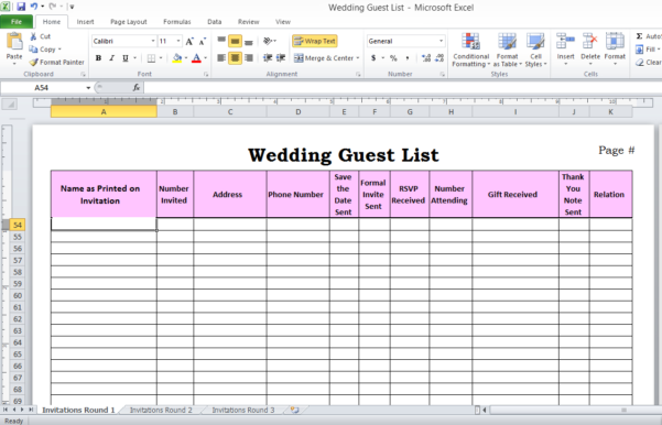 Wedding Spreadsheet Guest List Templates Within Wedding Planning Guest List Template How To Make Your Excel