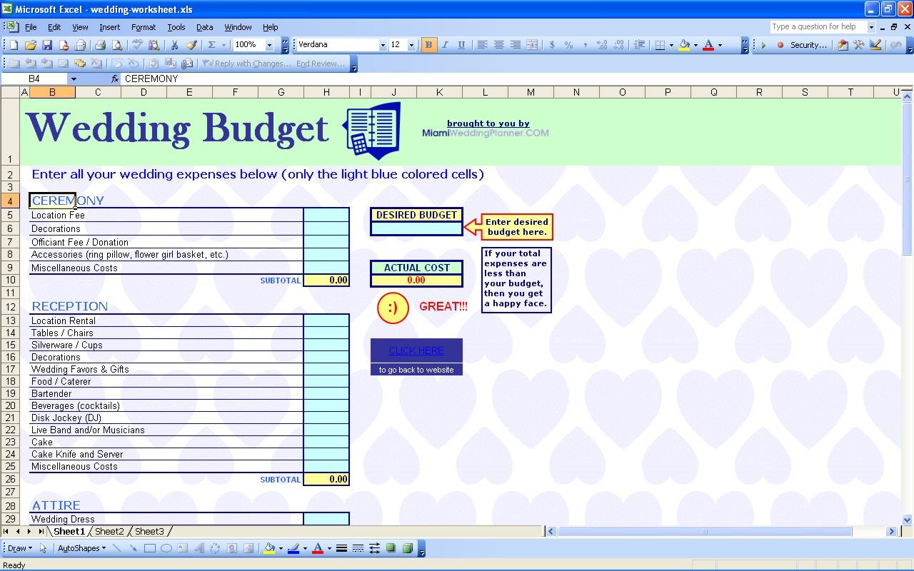 Wedding Venue Budget Spreadsheet With Regard To 15 Useful Wedding Spreadsheets – Excel Spreadsheet