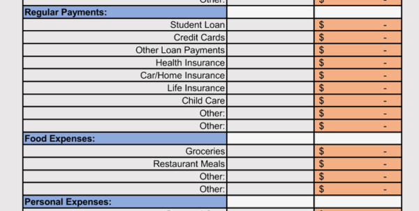 Weekly Expenses Spreadsheet Regarding Expense Record  Tracking Sheet Templates Weekly, Monthly