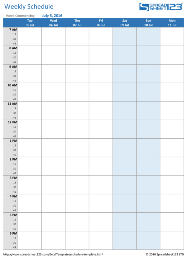 Weekly Schedule Spreadsheet Intended For Printable Weekly And Biweekly Schedule Templates For Excel