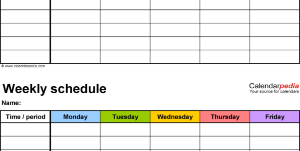 Weekly Schedule Spreadsheet Throughout Free Weekly Schedule Templates For Excel  18 Templates