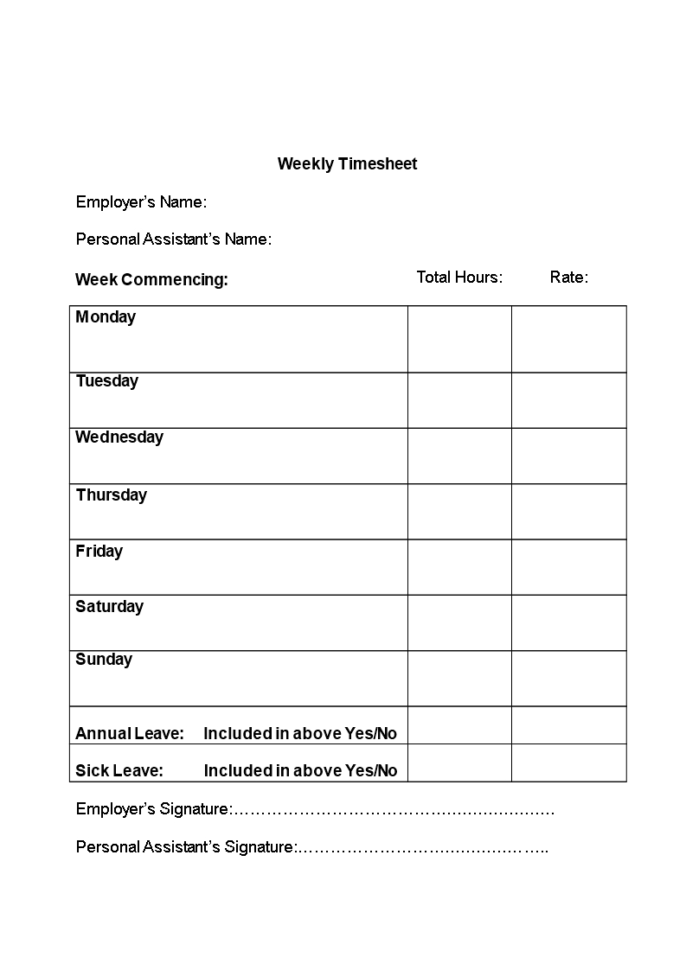 Weekly Timesheet Spreadsheet Within Free Simple Timesheet Template  Templates At Allbusinesstemplates