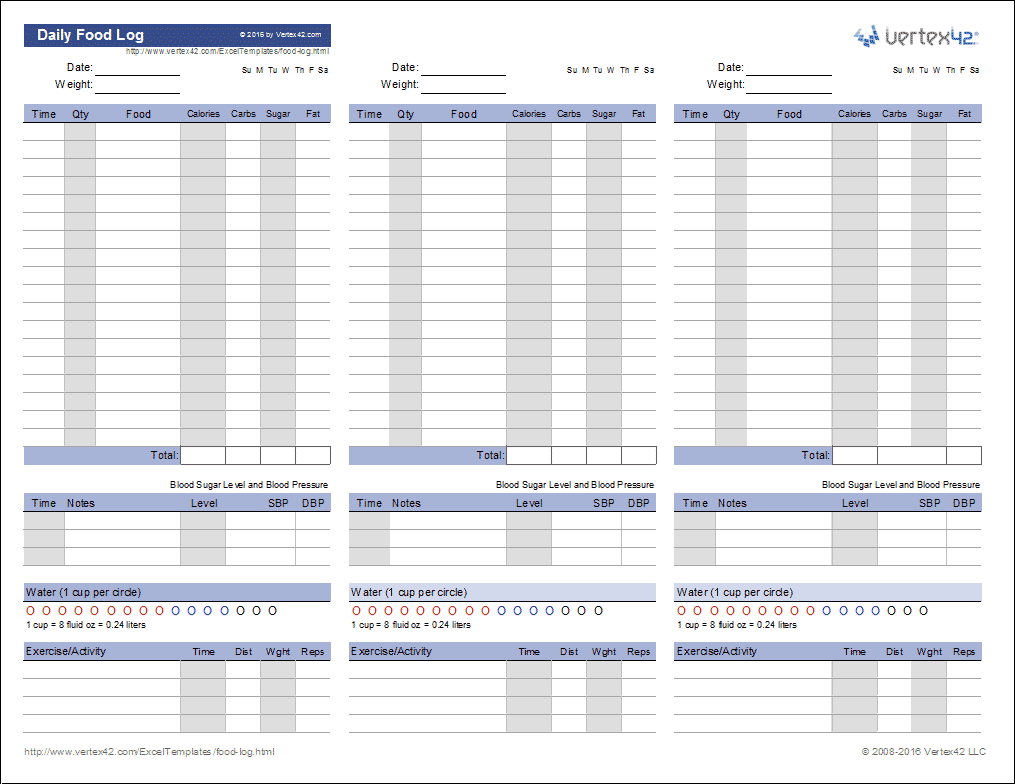 Weight Distribution Spreadsheet For Food Log Template  Printable Daily Food Log
