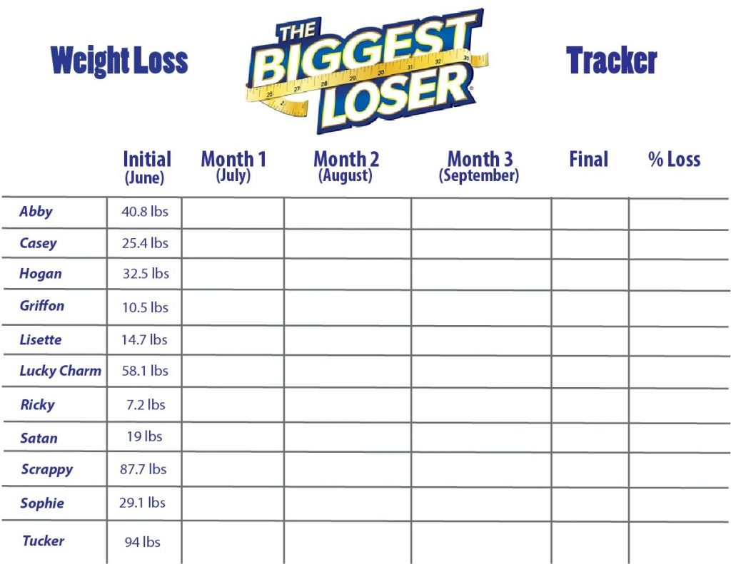 weight loss competition tracker spreadsheet natural buff dog