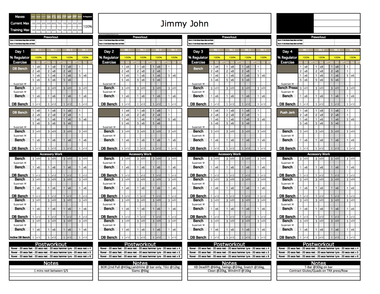 Weight Training Spreadsheet Template Inside Platinum Strength  Conditioning Excel Template  Excel Training Designs