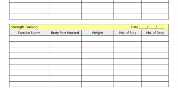 Weight Training Spreadsheet Template Throughout Strength Training Log Template  Sasolo.annafora.co