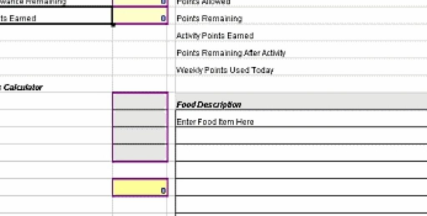 Weight Watchers Points Spreadsheet With Regard To Weight Watchers Points Tracker Spreadsheet – Daily Pdf Tracker