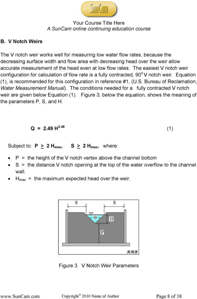 Weir Calculation Spreadsheet For Open Channel Flow Measurement Weirs And Flumes  Pdf