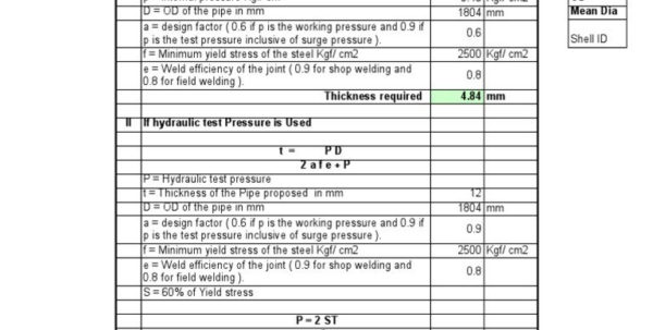 Welding Calculator Spreadsheet Throughout Example Of Pressure Vessel Calculation Spreadsheet Welding