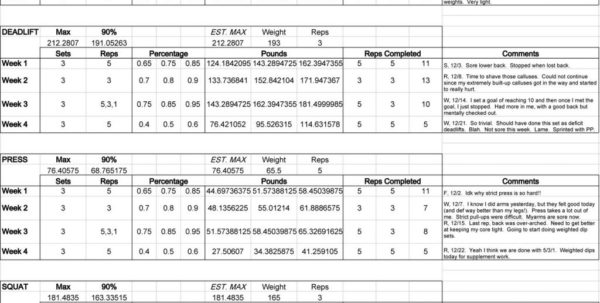 Wendler 531 Spreadsheet Pertaining To 3X3 Powerlifting Spreadsheet Juggernaut Excel  Pywrapper