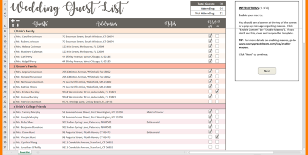 Westminster Spreadsheet Within 8  Excel Spreadsheet For Wedding Guest List  Balance Spreadsheet