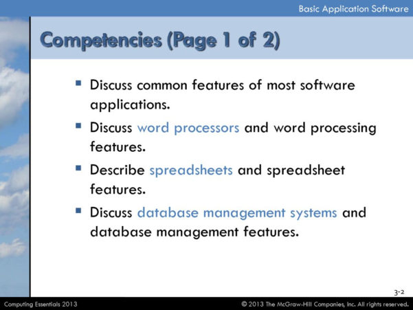 What Are Spreadsheets Databases And Word Processing Programs In Discuss Common Features Of Most Software Applications.  Ppt Download