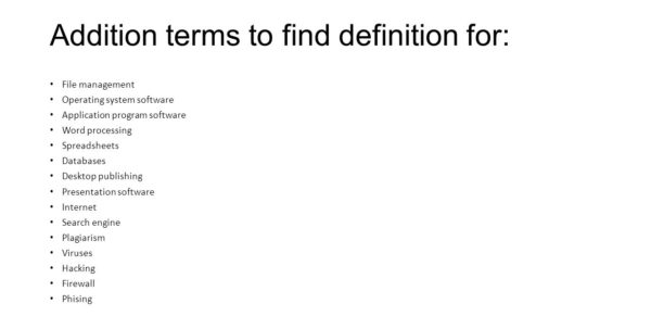 What Are Spreadsheets Databases And Word Processing Programs With Technology And You Chapter 7. Definitions: Complete The Definition