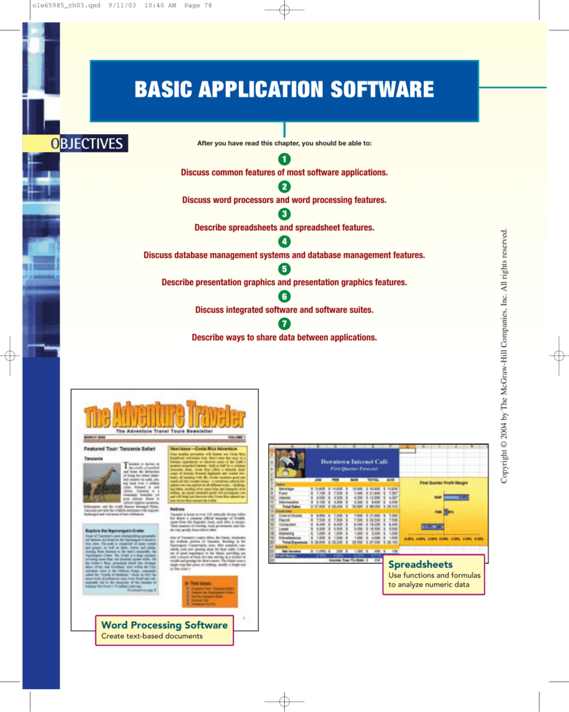 What Do Presentation And Spreadsheet Software Have In Common Pertaining To Basic Application Software  Mcgrawhill