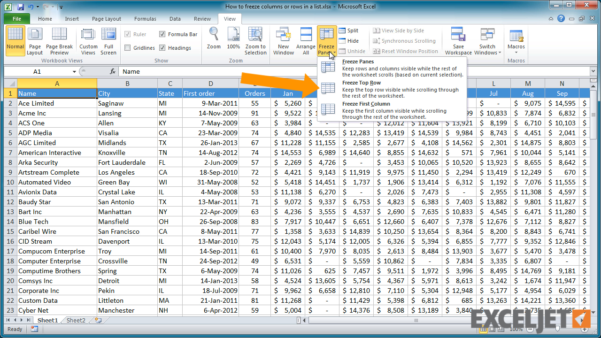What Is A Row In A Spreadsheet Inside Excel Tutorial: How To Freeze Columns Or Rows In A List