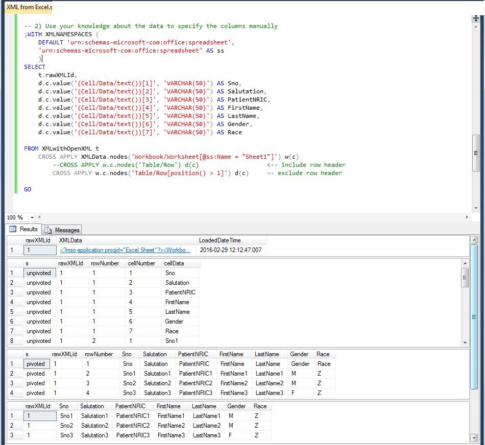 What Is An Xml Spreadsheet Intended For Sql Server  Selecting From A Table Contains A Xml Column  Database