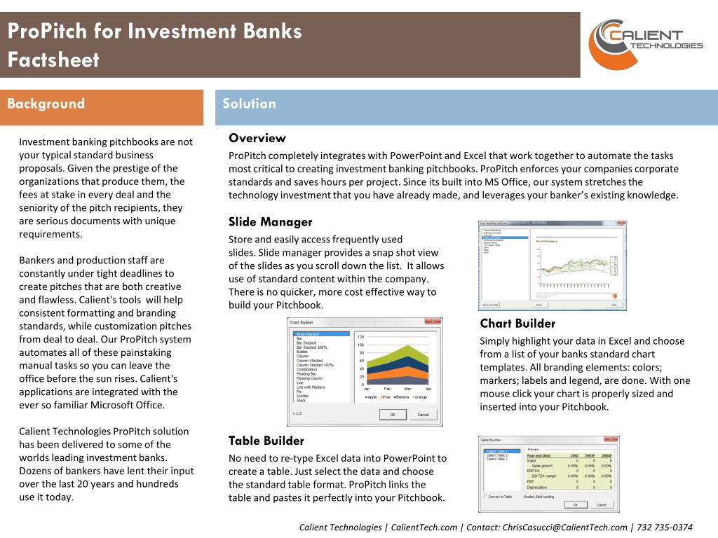 Why Do Bankers Use Spreadsheets In Ppt  Propitch For Investment Banks Factsheet Powerpoint