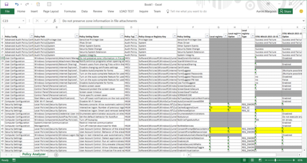 Windows 10 Group Policy Settings Spreadsheet For New Tool: Policy Analyzer – Microsoft Security Guidance Blog