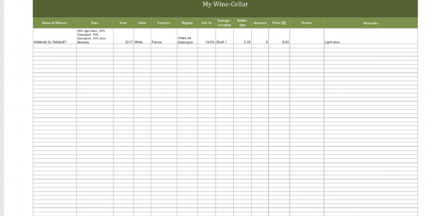 Winery Record Keeping Spreadsheet For Winecellarinventory  Excel Templates For Every Purpose Winery Record Keeping Spreadsheet Printable Spreadsheet