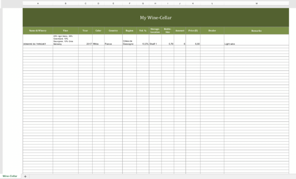 Winery Record Keeping Spreadsheet For Winecellarinventory  Excel Templates For Every Purpose