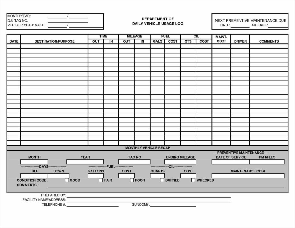 Wolf Requirements Spreadsheet Intended For Truck Maintenance Spreadsheet And Maintenance Schedule Log
