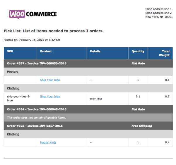 Woocommerce Spreadsheet Intended For Samples Of An Invoice Woocommerce Print Invoices Packing Lists Docs